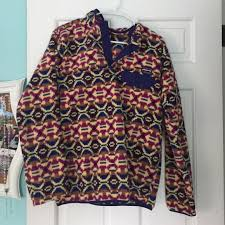 Patagonia Patterned Fleece Stunning Patagonia Tops Womens Patterned Pullover Fleece Poshmark