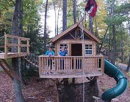 kids tree house.  Tree Tree House W Wrap Around Deck Stairs Insulated Interior Finish  Vinyl Hardwood Flooring 150 Ft Zip Line Additional Crows Nest Platform Wslide In Kids Tree House