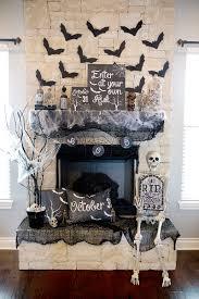 spooky halloween mantel decor black and white halloween decor