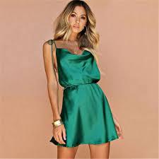 <b>2019 Strap Summer Dress</b> Women Backless Satin Silk Bandage ...