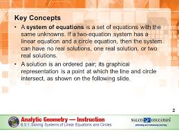 key concepts a system of equations is a set of equations with the same unknowns