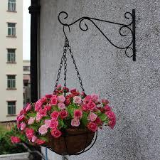 garden hooks. Plant Hanger Iron Balcony Railings Garden Wall Hook Hanging Shelf Flowerpot Rack Hooks G