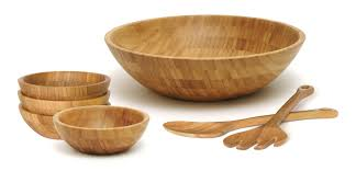 bamboo salad bowls with servers 7 piece set lipper international bowl server sets