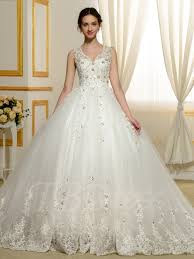 designer v neck beading appliques lace ball gown wedding dress