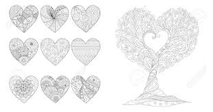 Hearts And Tree For Valentines Card Or Wedding Invitations And