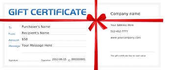 blank gift certificate template red ribbon order prints