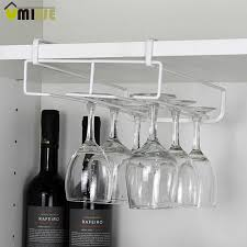 new stainless steel wine glasses holder wine goblet rack kitchen bar wall hanging champagne wine rack glass cup holder storage