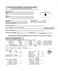 Wholesale Order Form Template Catering Request Application Templates