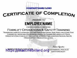 Forklift Safety Training Certificate Template Forklift