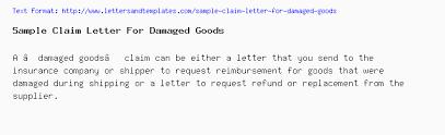 Sample Letter To Insurance Company For Reimbursement Sample Claim Letter For Damaged Goods