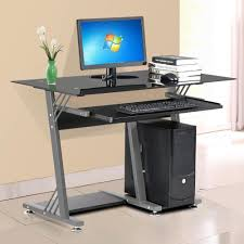popamazing modern home office computer with desk glass top keyboard shelf furniture black co uk kitchen home