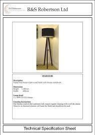 Interior Design Specification New RS48 Tripod Floor Lamp R S Robertson ESI Interior Design