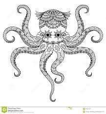 drawing octopus zentangle design for coloring book for tattoo t shirt design