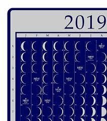 Moon Chart Calendar 2019 2019 Moon Phase Calendar Poster Lunar Moonlight Guide