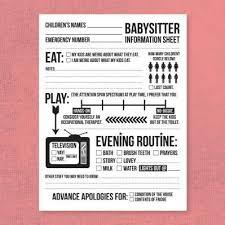Babysitter Information Sheets Babysitter Information Sheet Printables Babysitting Parenting