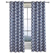 Greish-White Navy Blue Curtains for Bedroom - Anady 2 Panel Blackout Short Geometric Blue/White Curtains Drapes Grommet 63 inch Length