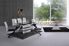 ebru extending high gloss white dining table with black or grey glass