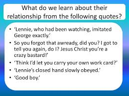 of mice and men chapter one ppt video online  what do we learn about their relationship from the following quotes