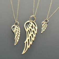 set23 sv sets flight big med small angel wing charm necklaces