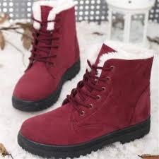 senarai harga women winter warm boots flat lace up faux fur lined casual snow ankle boot