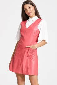 girls on rasberry faux leather dress