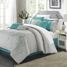 chic home 8 piece fl embroidered comforter set queen gray and blue megamax ation