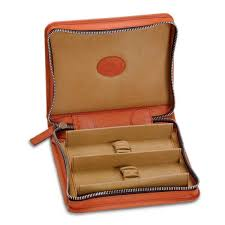 the underwood leather zipped watch case for 2 watches is handmade rich italian calf leather from tuscany