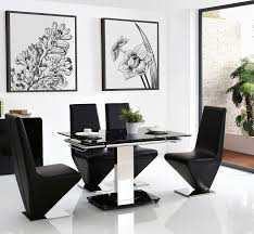enzo 80 120cm extending glass dining table with 6 rita designer dining chairs black