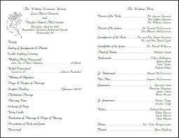 sample wedding program wording best photos of free samples of wedding programs church wedding