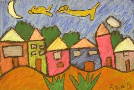 oil pastel houses with floating dog chasing cat