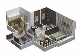 1 Bedroom Small House Plans 3d Ideas Bed With Enchanting Design Floor 2018