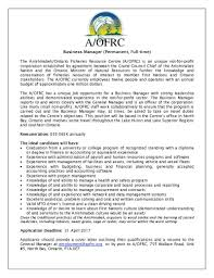 Anishinabek Ontario Fisheries Resource Centre Business Manager