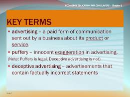 economic education for consumers ○ chapter lesson  economic education for consumers ○ chapter 1 key terms  advertising a paid form of