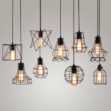 edison lights pendant vintage industrial metal cage light hanging lamp bulb lighting fixture new loft lamps