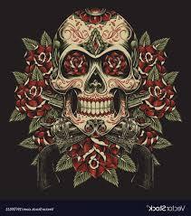 Skull And Roses With Revolvers Tattoo Vector Hoodamathrun
