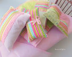 Doll <b>6</b> pcs bright pink green quilt bedding set Barbie Monster high ...