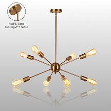 gold sputnik chandelier. Sputnik Chandelier Light-VINLUZ 8 Lights Brushed Brass Modern Pendant Lighting Gold Mid Century Ceiling Light Fixture For Dining Room Bed Kitchen P