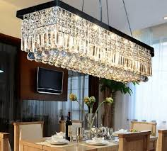 modern contemporary rectangle rain drop crystal chandelier for dining room suspension lamp lighting fixture
