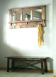 Bench And Coat Rack Entryway Mirror Coat Rack Entryway Mirror With Four Coat Hooks Rustic 58