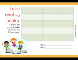 Book Reading Chart Free Reading Incentive Chart Read 25 Books Cute Kids