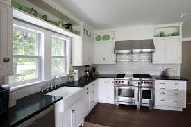 kitchen ideas white cabinets black countertop. Delighful Countertop Single Kitchen Cabinet Ceramic Tile Backsplash Design White Stained Wooden  Island Nickel Crhome Swing Panel Intended Ideas Cabinets Black Countertop
