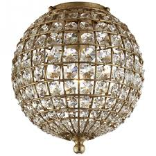 renwick small flush mount in gild with crystal
