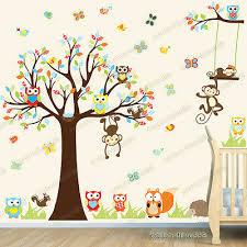 jungle animal owl monkey tree wall