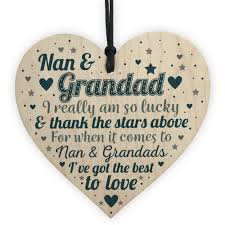 dels about nan and grandad gift for birthday wood heart grandpa keepsake gift