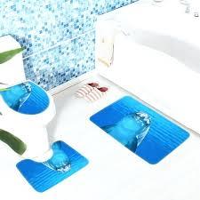 blue soft bathroom mat sets dolphin underwater bath non slip foam toilet and shower chiffon super