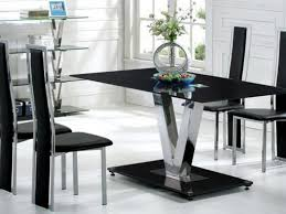 black glass dining table and 6 black chairs set homegenies glass top dining table set 6
