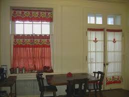 Red Swag Kitchen Curtains Kitchen Beautiful Wide Red Check Ruffled Valance Kitchen Window