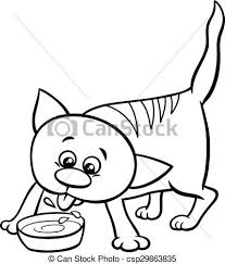 kitten and milk coloring book csp29863835