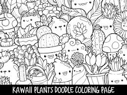 Free printable kawaii coloring pages. Plants Doodle Coloring Page Printable Cute Kawaii Coloring Etsy
