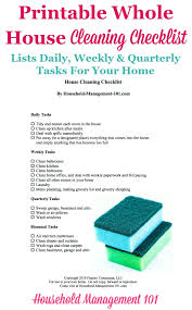 Printable Whole House Cleaning Checklist How To Keep Your